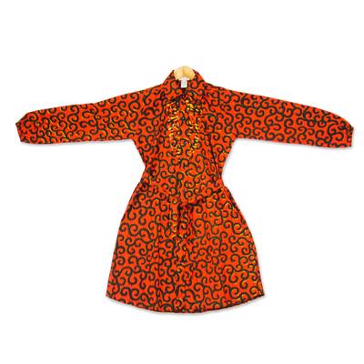 Printed Cotton Long Sleeve Shirtwaist Dress in Strawberry