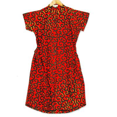 Printed Cotton Short Sleeve Shirtwaist Dress in Strawberry