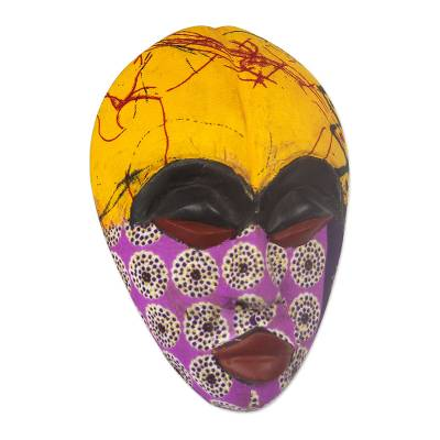 African wood mask, 'Colorful Tradition' - African Wood Mask with Printed Cotton Accents from Ghana