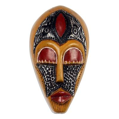 African Wood and Aluminum Mask in Orange from Ghana