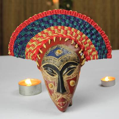 Unicef Market African Wood Mask With Raffia Headdress From Ghana Akuchinyere Headdress