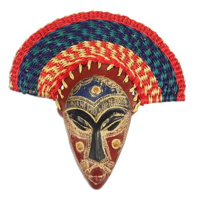 African wood mask, 'Akuchinyere Headdress' - African Wood Mask with Raffia Headdress from Ghana