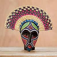 African wood mask, 'Eco Akuchinyere' - Eco-Friendly African Wood Mask with Raffia from Ghana