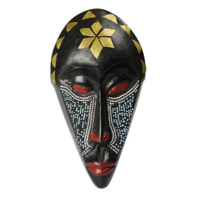 African Wood Mask with Recycled Plastic Beads from Ghana