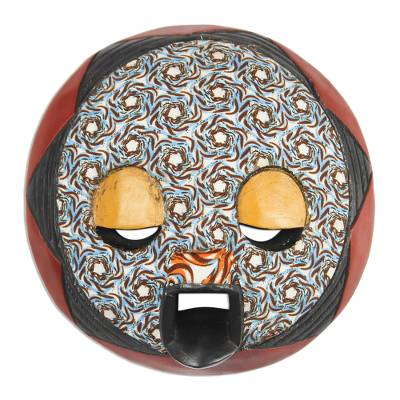 African Wood and Cotton Mask from Ghana