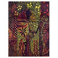 'Night Romance' - Expressionist Painting of a Woman with Intricate Motifs