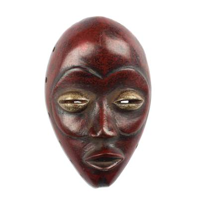 Wood mask, 'Crimson Dan' - Hand Carved and Painted Red Dan Wall Mask