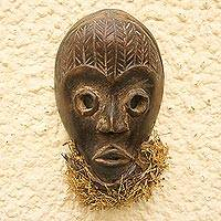 African wood mask, 'Dan Beard' - Dan-Style African Wood and Corn Husk Mask from Ghana