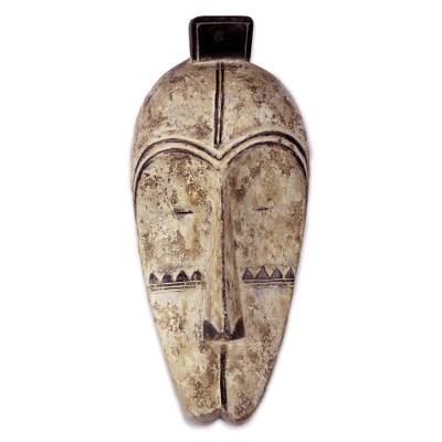 Wood mask, 'Fang Culture' - Original Hand Carved Wood Fang Style Wall Mask