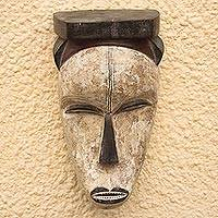 Wood mask, 'Fang Memory' - Artisan Crafted Wood Wall Mask from Ghana