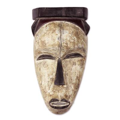 Artisan Crafted Wood Wall Mask from Ghana