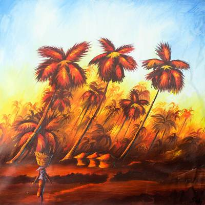 'When the Sun Is Down' - Expressionist Painting of Palm Trees at Sunset from Ghana