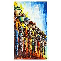 'In Line' - Expressionist Painting of African Women from Ghana
