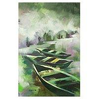 'Beauty' - Impressionist Painting of Boats in Green from Ghana