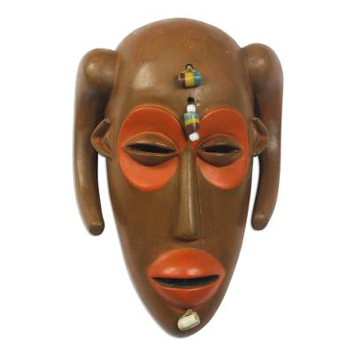 African wood mask, 'Hemba' - Monkey-Inspired Cultural African Wood Mask from Ghana