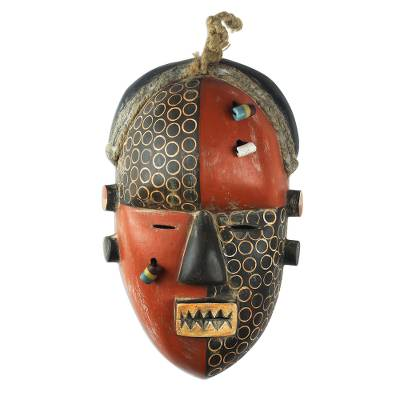 African wood mask, 'Yaka Initiation' - Colorful Wood Mask with Recycled Glass Beads