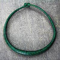 Braided leather necklace, 'Mpusia in Viridian' - Braided Leather Necklace in Viridian from Ghana