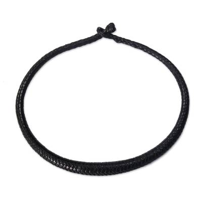 Braided leather necklace, 'Mpusia in Black' - Black Hand-Braided Leather Necklace from Ghana