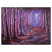 'Bright Path' - Expressionist Painting of a Forest in Purple from Ghana