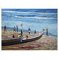 'At the Beach' - Signed Beachside Impressionist Painting from Ghana