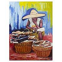 'Survival' - Signed Expressionist Painting of a Market Woman from Ghana