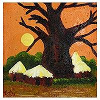 'Country Side' - Signed Impressionist Painting of a Baobab Tree from Ghana