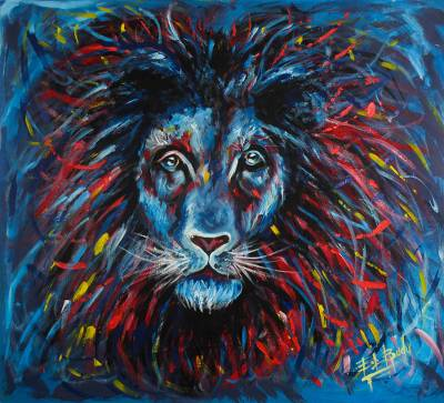 Expressionist Painting of a Blue Lion from Ghana