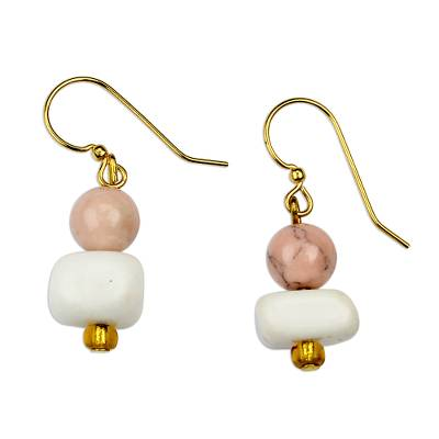 Pink Agate and White Recycled Glass Beaded Dangle Earrings
