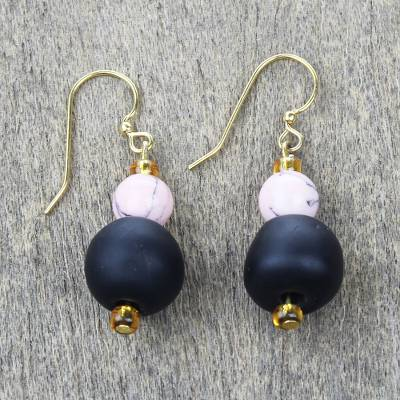 Agate and recycled glass beaded dangle earrings, 'Eco Serenity' - Agate and Black Recycled Glass Beaded Dangle Earrings