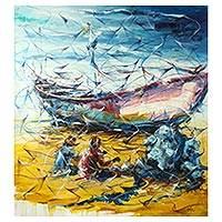 'Promising Labor' (2017) - Signed Original Painting of Fishers Mending Nets