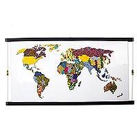 'World Map I' (2020) - Multicolored Original Map Collage from Ghana