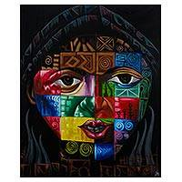 'Woman Abstract' - Colorful Abstract Portrait Painting from Ghana