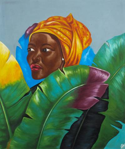 Acrylic on Canvas Portrait of African Woman