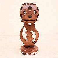 Wood sculpture, 'Gye Nyame Trophy' - Gye Nyame Adinkra Symbol Wood Sculpture
