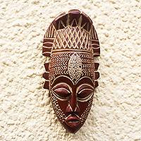 African wood mask, 'Bold Beauty' - Hand-Carved Wood Mask with Aluminum  and Painted Accent
