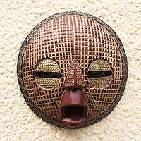African wood mask, 'Edudzi' - Embossed Brass and Wood Round African Mask