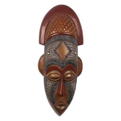 African wood mask, 'My Protector' - West African Wood Mask Ofuntum Wood with Aluminum Accent
