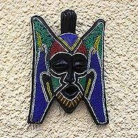 African beaded wood mask, 'Ghanaian Ghost' - Bird Motif Beaded West African Mask