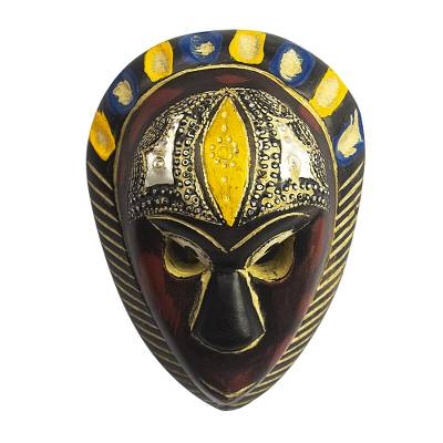 African wood mask, 'Hausa Love' - West African Handmade Wood Mask