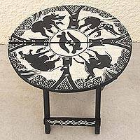 Folding wood accent table, 'To the Watering Hole' - Folding Wood Adinkra Animal Motif Table