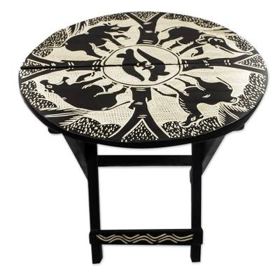 Folding Wood Adinkra Animal Motif Table