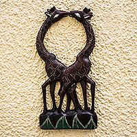 Wood wall accent, 'Giraffe Love' - Hand Carved Giraffe Romance Wall Accent