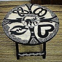 Wood folding table, 'Adinkra Elephant'
