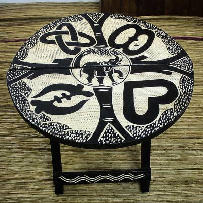 Wood folding table, 'Adinkra Elephant' - Hand Carved Adinkra Symbol Sese Wood Folding Table