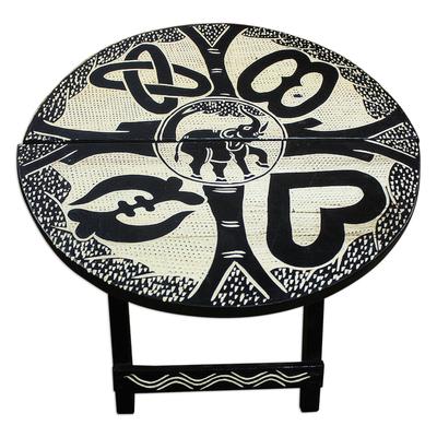 Hand Carved Adinkra Symbol Sese Wood Folding Table