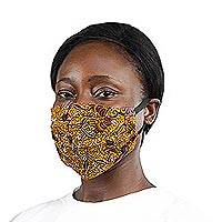Cotton face mask, 'Elastic African Lily' - Handcrafted Elastic Loop African Print Cotton Face Mask