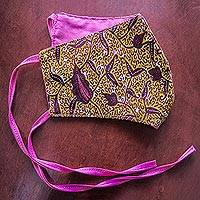 Cotton face mask, 'African Lily' - Artisan Crafted Tie-On African Print Cotton Face Mask