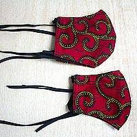Adult and child family set of cotton face masks, 'Ruby Paths' (pair) - Pair Adult & Child Red Cotton African Print Face Masks