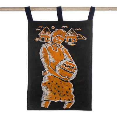 Cotton batik wall hanging, 'A Woman Carrying a Pot' - Unique Wall Hanging from Ghana
