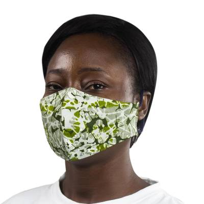 Cotton face mask, 'Ghanaian Forest' - 2-Layer African Cotton Print Face Mask in Green & Yellow